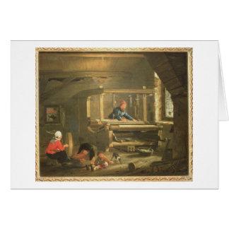 Cartão A oficina de um tecelão, 1656 (óleo em canvas)