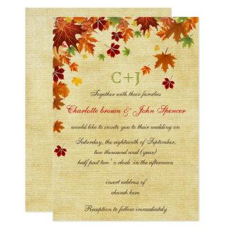 Cartão A queda deixa o casamento rústico