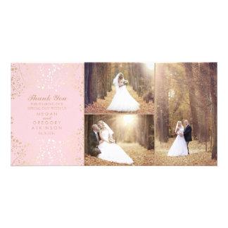 Cartão A respiração do bebê do ouro cora obrigado da foto
