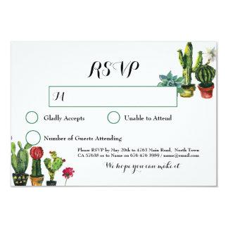 Cartão A resposta da festa do casamento do cacto RSVP