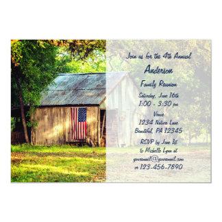 Cartão A reunião de família rústica da bandeira americana