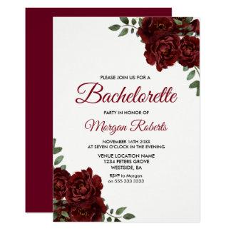 Cartão A rosa vermelha romântica Bachelorette de Borgonha