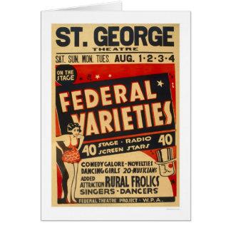 Cartão A variedade federal actua WPA 1937