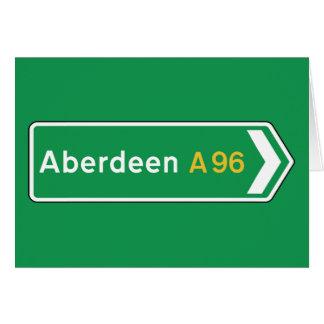 Cartão Aberdeen, sinal de estrada BRITÂNICO