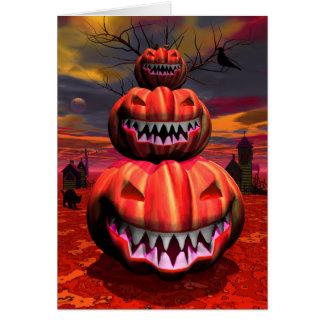 Cartão Abóboras na cena do Dia das Bruxas