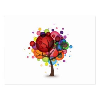 Cartão abstrato da árvore do balão cartão postal