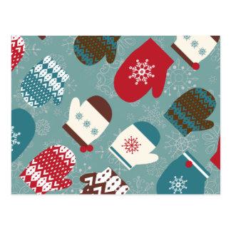 Cartão acolhedor do feriado do Natal dos mitenes