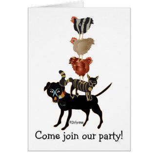 Cartão Acrobatas da fazenda. cão, gato, 3 galinhas!