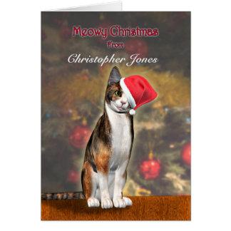 Cartão Adicione seu nome, um gato engraçado em um chapéu