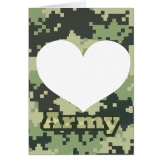 Cartão Adicione seu próprio coração do exército da foto