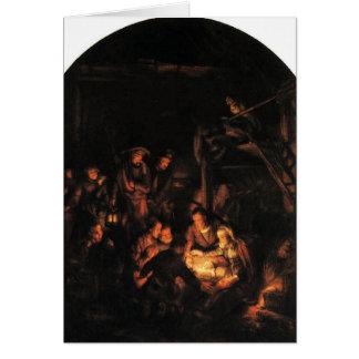 Cartão Adoração dos pastores - Rembrandt 1640.