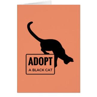 Cartão Adote um gato preto