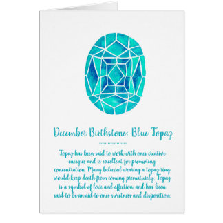 Cartão Aguarela azul do aniversário do topázio de
