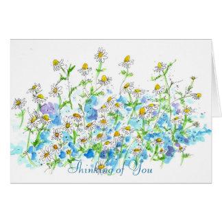 Cartão Aguarela do jardim da camomila que pensa de você