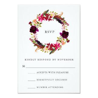 Cartão Aguarela floral RSVP de Borgonha