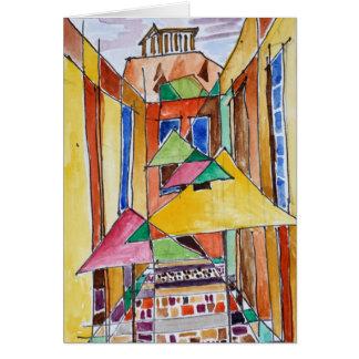 Cartão Aguarela Plaka | Atenas do estilo do Cubist,