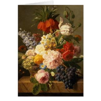 Cartão Ainda vida com flores e fruta, 1827