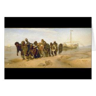Cartão Alador da barca no Volga por Ilya Y. Repin