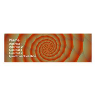 Cartão alaranjado da espiral da pele de cobra cartão de visita skinny