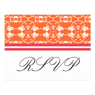 Cartão alaranjados do rosa RSVP da framboesa da