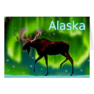 Cartão Alces da aurora boreal
