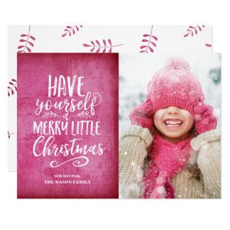 Cartão Alegre pouco Grunge cor-de-rosa escuro do Natal