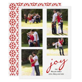 Cartão Alegria vermelha, Natal da colagem da foto dos