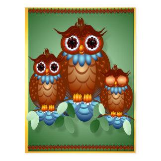 Cartão alerta de três corujas pequenas