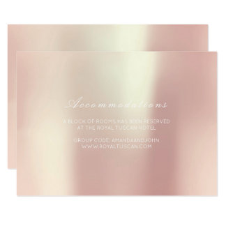 Cartão Alojamento em hotel Glam do casamento do rosa do