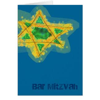 Cartão amarelo de Mitzvah do bar da estrela
