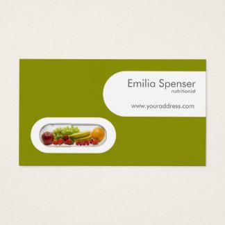 Cartão amarelo do verde branco do nutricionista da