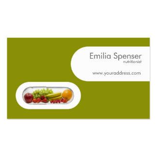 Cartão amarelo do verde branco do nutricionista da cartão de visita