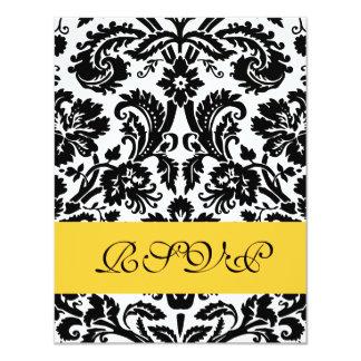 Cartão amarelo e preto elegante do casamento tema convite