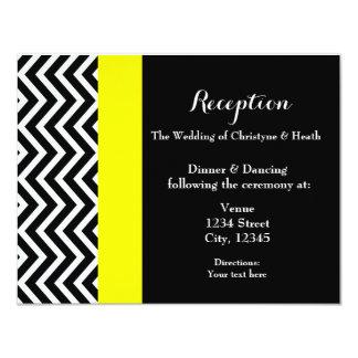 Cartão amarelo preto moderno da recepção de convite 10.79 x 13.97cm