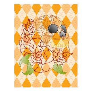 Cartão amarelo retro do crânio do açúcar dos rosas