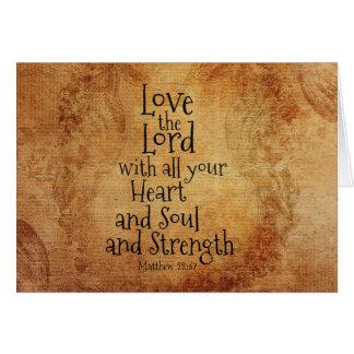 Cartão Ame o senhor Escritura Matthew 22, costume do