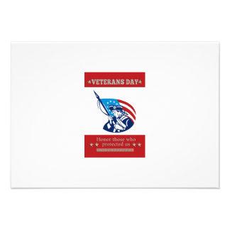 Cartão americano do poster do dia de veteranos do convite personalizados