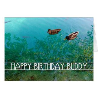 Cartão amigo do feliz aniversario (dois patos)