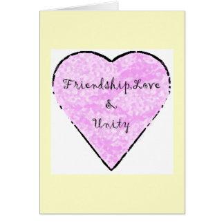 Cartão Amizade, amor & unidade