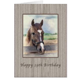 Cartão Aniversário, 39th, cavalo de Brown com freio