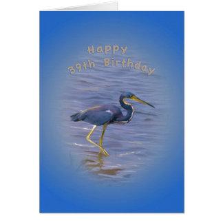Cartão Aniversário, 39th, garça-real Tri colorida na