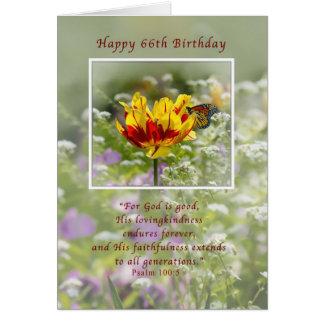 Cartão Aniversário, 66th, religioso, borboleta