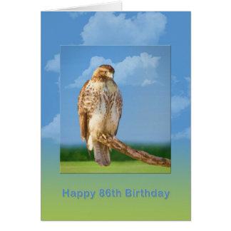 Cartão Aniversário, 86th, falcão equipado com pernas