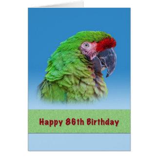 Cartão Aniversário, 86th, papagaio verde