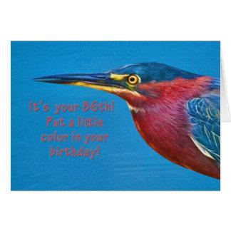 Cartão Aniversário, 86th pássaro verde da garça-real