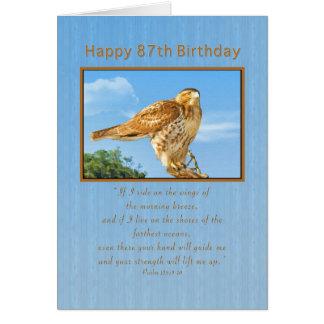 Cartão Aniversário, 87th, falcão Áspero-equipado com