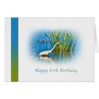 Cartão Aniversário, 87th, grande Egret na lagoa