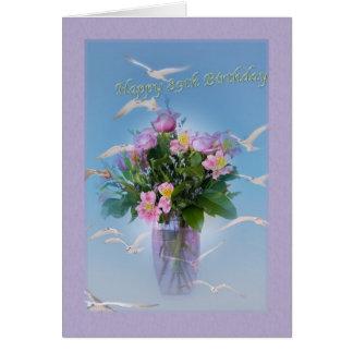 Cartão Aniversário, 89th, flores e pássaros