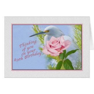 Cartão Aniversário, 89th, rosa do rosa e pássaro do Egret