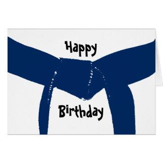 Cartão Aniversário azul escuro da correia das artes